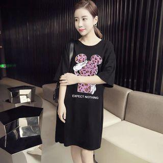 Mickey Mouse Leopard Wordings Tee Dress
