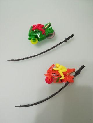 小朋友玩具 上鏈電單車X2=$3