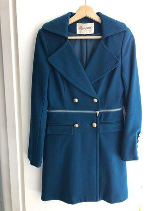 Teal blue winter coat