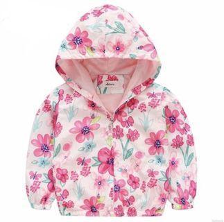 Girls Windbreaker Baby Jacket Floral Pink Hoodie Sweater Toddler Kids