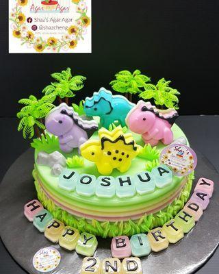 Dino Theme Agar Agar Birthday Cake