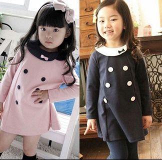 Girls Korean Kids Toddler Dress Sweet Cute Pink Black Collar Party Birthday