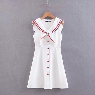 🍎Europe College Navy Collar Sleeveless Lace Dress
