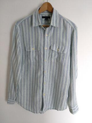 Banana Republic Striped Linen Shirt Long Sleeve