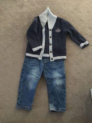 Cardi and jeans