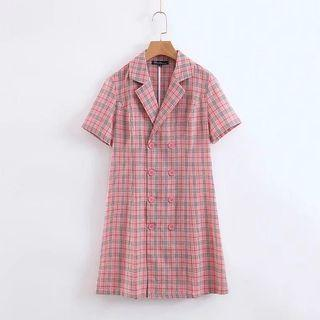 🍎Europe French Double Breasted Plaid Short Dress