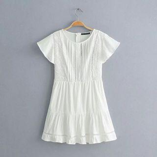 🍎European Flying Sleeves Lace Dress