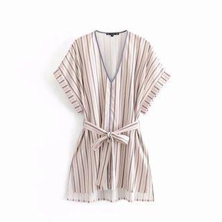 🍎Europe Loose Belt Striped Blouse Shirt