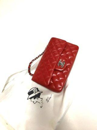 Chanel classic red lambskin mini 20cm