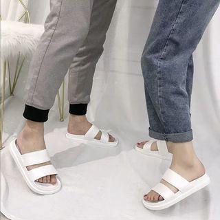 (預購)情侶款白色外出拖鞋