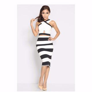 (BN) Lara J Lavinia Stripes Skirt - Size M