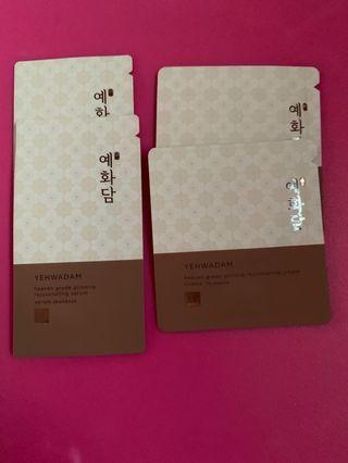 < The Face Shop > - Yehwadam Heaven Grade Ginseng Rejuvenating Serum / Cream Satchet for Travel / Sample / Trial