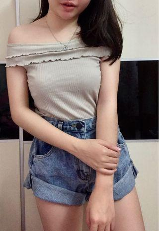 Brand new Korea knitted off shoulder lace top