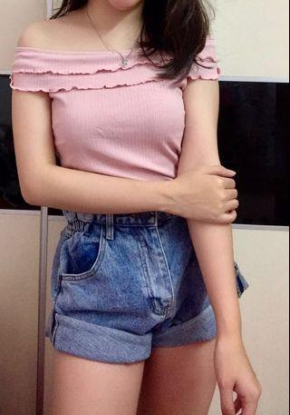 Brand new Korea knitted off shoulder Lacey top