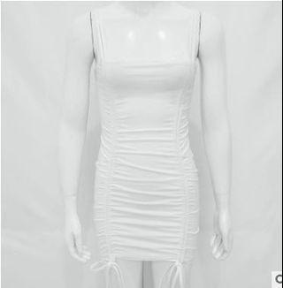 White Double Strap Fitting Dress