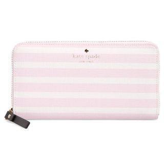 KATE SPADE Pink & White Striped Long Wallet