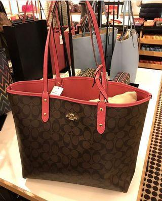 Coach Reversible City Tote in Brown/Strawberry