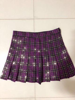 Japanese School Girl Checkered Tennis Skirt Mulberry Purple Sparkly and Shimmery