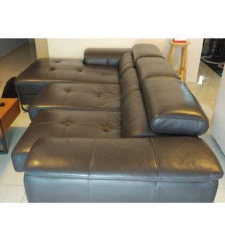 Large Leather Sofa with Readjustable Headrest and Seats