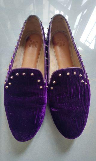 Pedder Red - purple valvet stud loafer