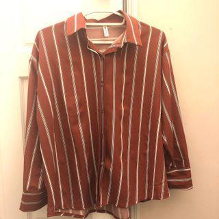 氣質紅色條紋上衣