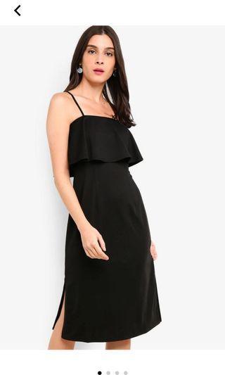 Black Tiered Overlay Midi Dress
