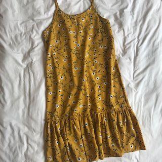 mustard yellow floral midi dress