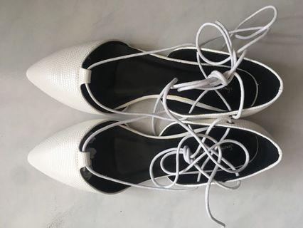 lace up pointed flats