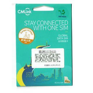 CMLink 歐洲15日GB數據 歐洲上網卡 歐洲電話卡