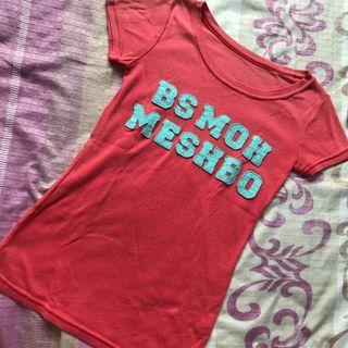 🚚 粉色 貼布字母T恤