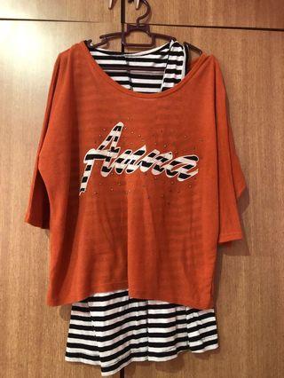 Orange stripe Crop Top