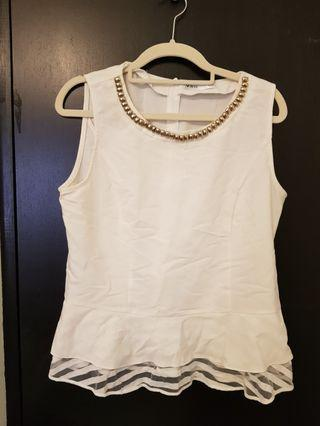 VRG white peplum work sleeveless top