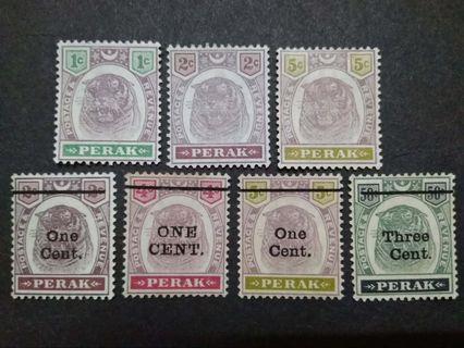 Malaya Perak 1895 1900 Tiger Old Stamps 1c-3c & Overprint 1c & 3c - 7v Mint Malaya Stamps