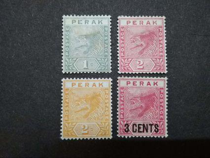 Perak 1891 Tiger Loose Set Short Of 5c - 4v MH Malaya Stamps