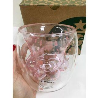 🌟 現貨不用等 🌟 實拍 粉色金標 櫻花紋 星巴克原包裝 貓爪杯 櫻花貓爪杯 雙面玻璃杯 生日禮物 🌸4個免運🌸