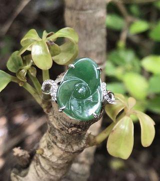 天然翡翠925純銀戒指