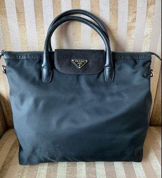 Prada black leather and Nylon Tote Bag