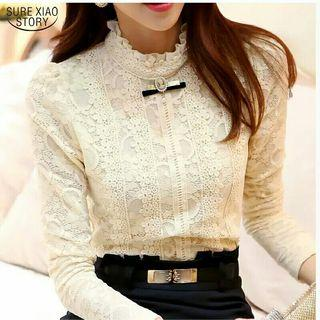 women tops and blouses Women Clothing fashion Blusas Femininas Blouses Women Shirts Crochet Blouse Lace Shirt clothes