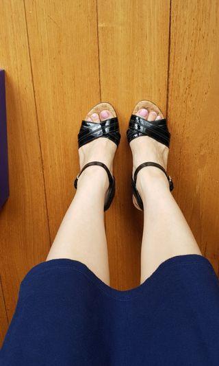 Stuart Weitzman Black Strappy Wedge Heels Black Size 36