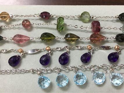 全新義大利14k天然彩色透亮碧璽、拓拍石、紫水晶手鍊