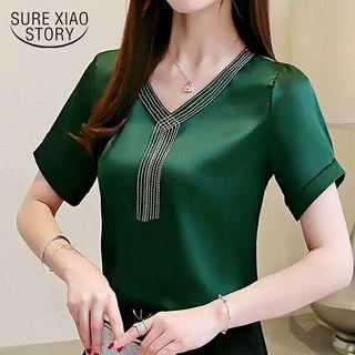 women blouses short sleeve tassel chiffon blouse womens tops and blouses
