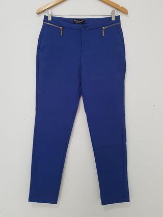 Celana panjang wanita biru elektrik Besty Korea high quality sz L