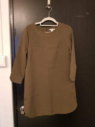 H&M olive green shift dress
