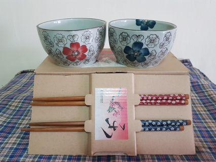 Ceramic Bowl & Bamboo Chopsticks Dining Set