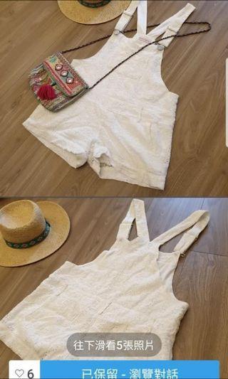 白色吊帶褲