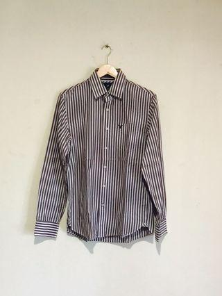 American Eagle Cool Brown Stripe Vintage Fit Shirt #mauvivo