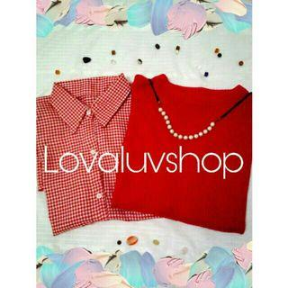 Sweater + kems houndstooth red
