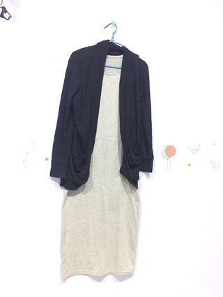 FREEPOS WM Long dress and cardigan set