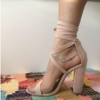 Nude pink lace up heels