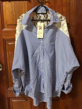 Striped Blouse with laced details